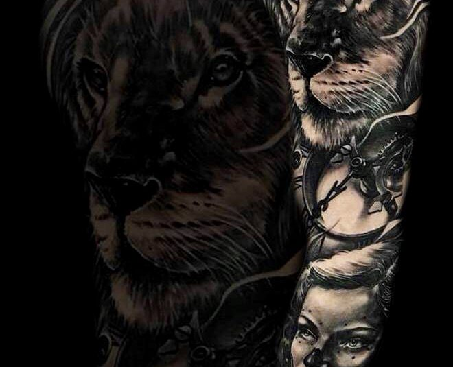 Realistic Lion and Women Tattoo Design