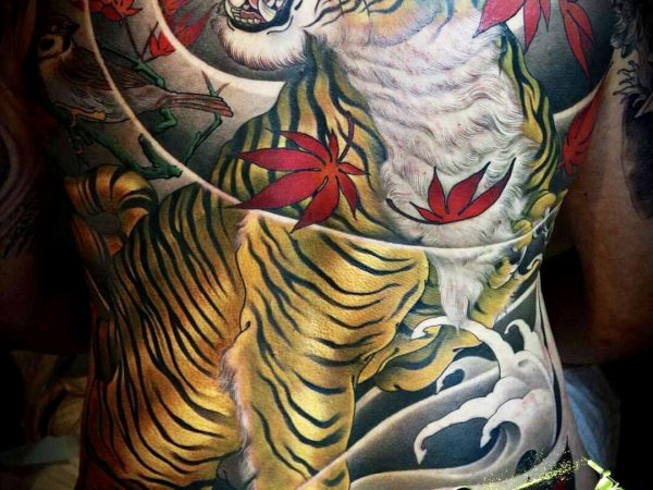 Japanese Colour Tiger Tattoo Design