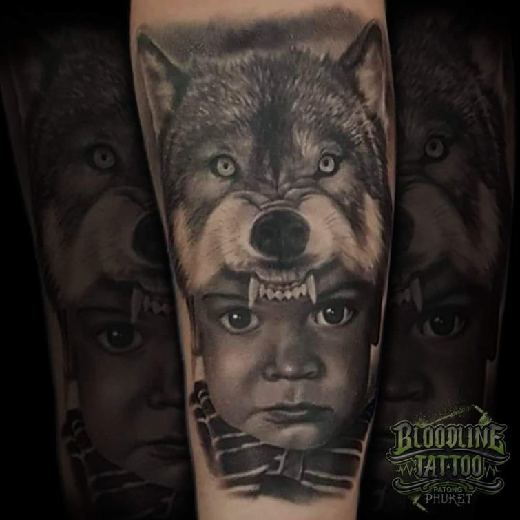 Portrait Wolf And Child Face Tattoo