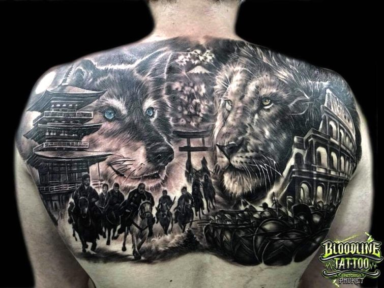 Realistic Lion and Wolf Tattoo Design